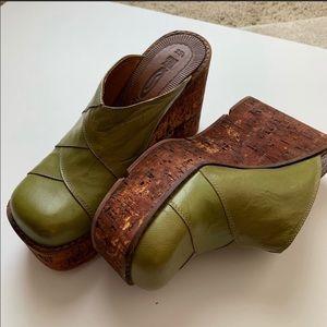 Ras Footwear Green Leather Platform Wedges